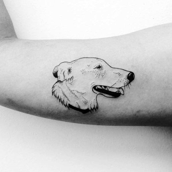 Simple Arm Dog Portrait Head Tattoo For Guys