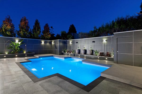 Simple Backyard Concrete In Ground Home Swimming Pools