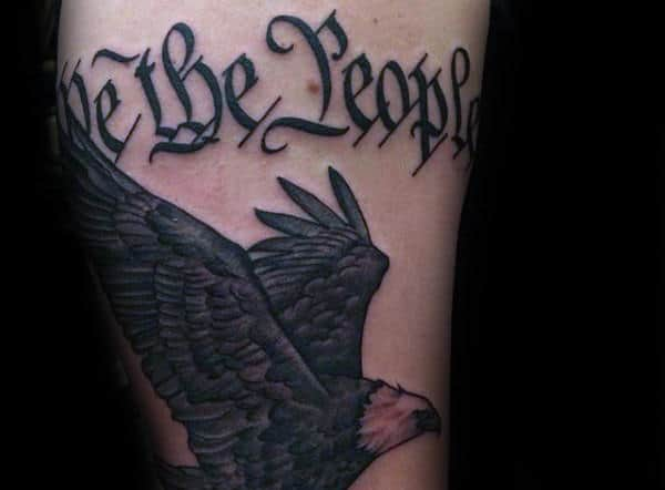Simple Bald Eagle We The People Mens Leg Tattoo Design Ideas