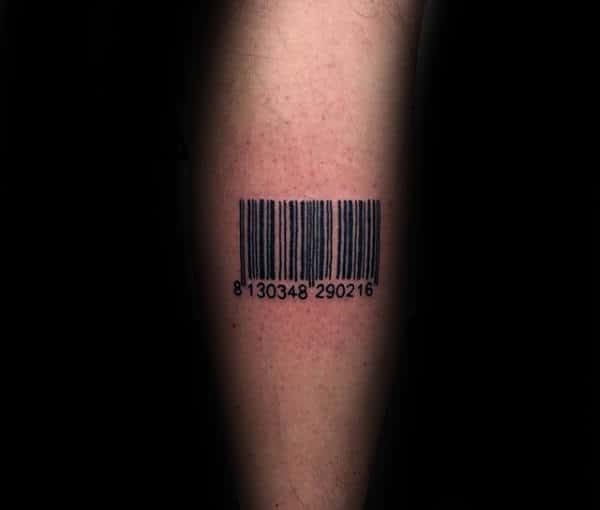 Simple Barcode Mens Arm Tattoo Design Ideas