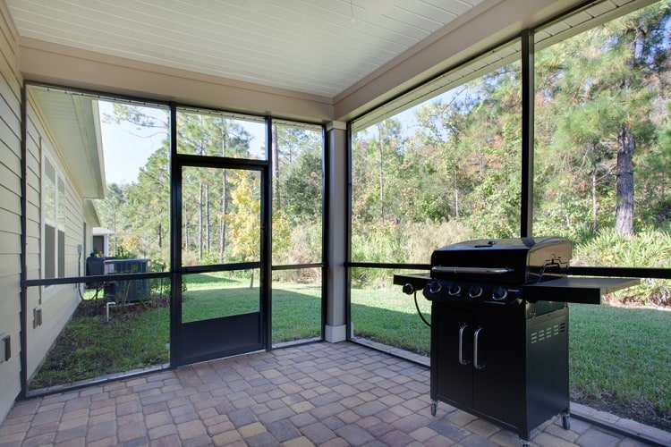 Simple Black Framed Screened In Porch