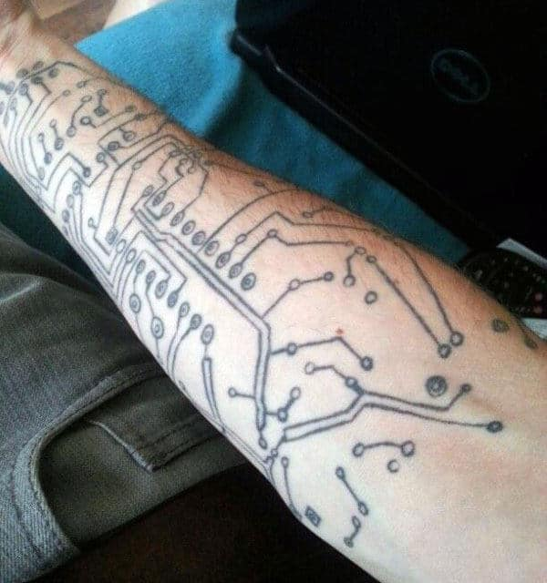 Simple Black Ink Diagram Circuit Board Mens Forearm Tattoo
