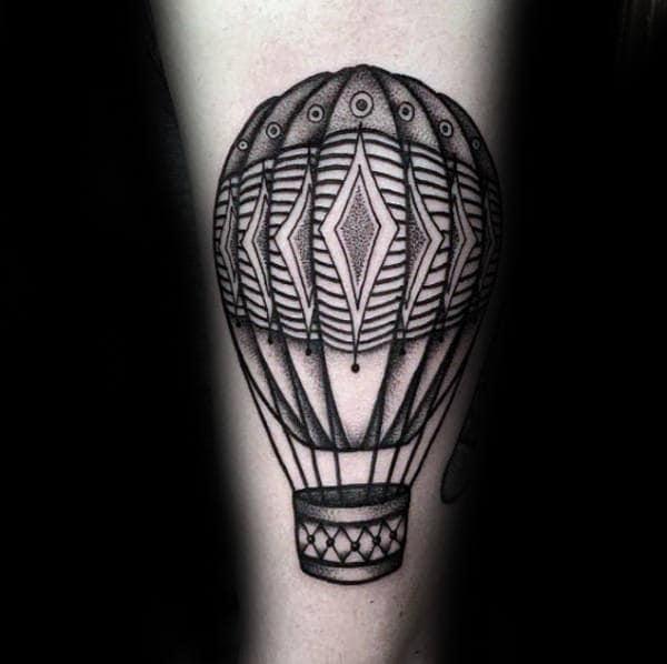 Simple Black Ink Hot Air Balloon Male Arm Tattoos