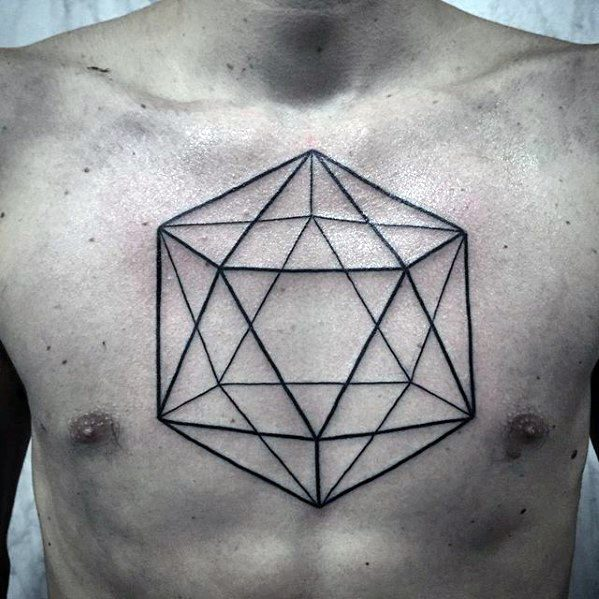 Simple Black Ink Lines Shape Geometric Chest Tattoos For Men