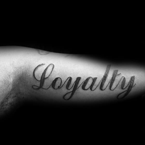 Simple Black Ink Male Loyalty Cursive Inner Arm Tattoos