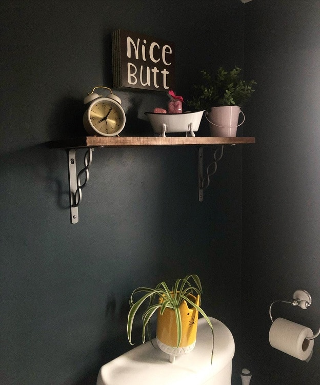 Simple Black Wall Bathroom Shelf Brackets Ourlittlewhitecottage