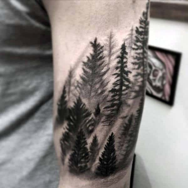 Simple Black Work Pine Forest In Mist Tattoo On Gentleman