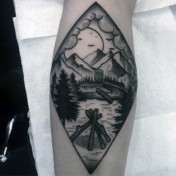 Simple Black Work Waterfall Landscape Tattoo For Forearm On Man