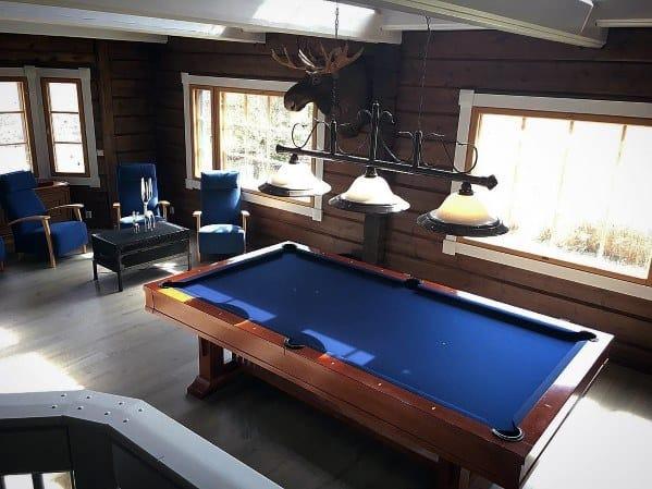 Simple Blue Billiards Room