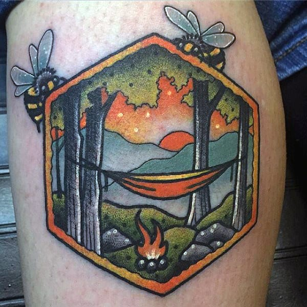 290035822 ... Waterfall Landscape Tattoo For Forearm On Man. Simple Calf Tattoo Bees  Frame Hammock Camping Scene On Gentleman