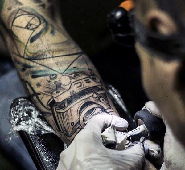 Simple Camera Tattoo Male Forearms