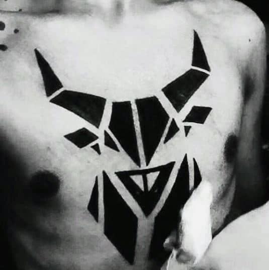 Simple Chest Blackwork Bull Tattoo For Men