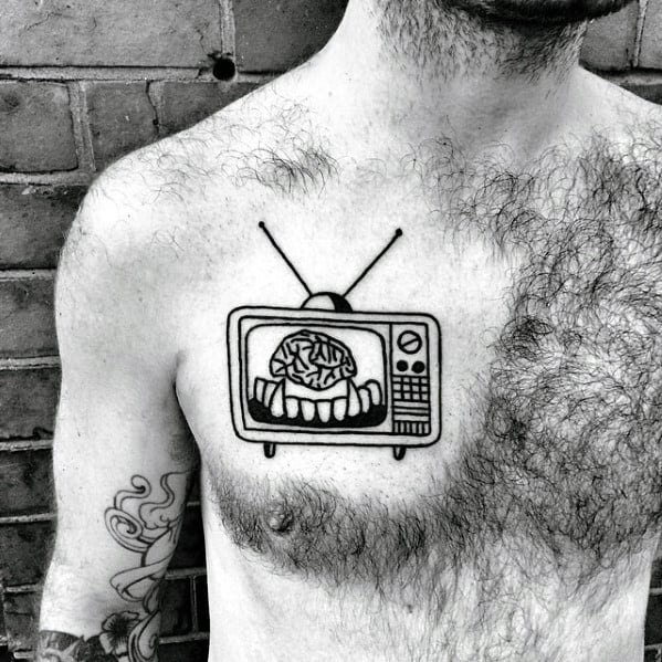 Simple Chest Mens Tv With Brain And Vampire Fangs Tattoo Design