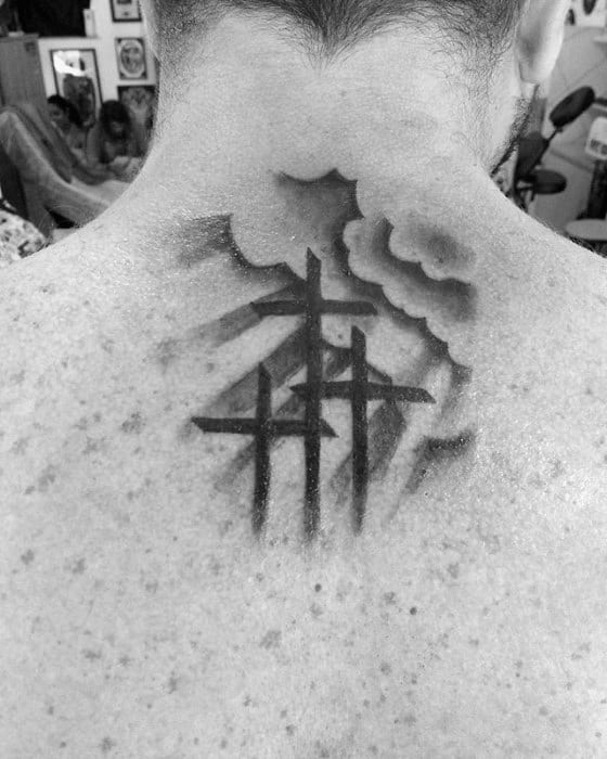 Simple Christian Crosses With Sun Rays Mens Upper Back Tattoo