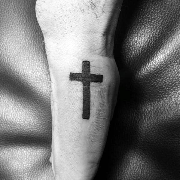 Simple Christian Mens Black Ink Cross Side Of Hand Tattoo