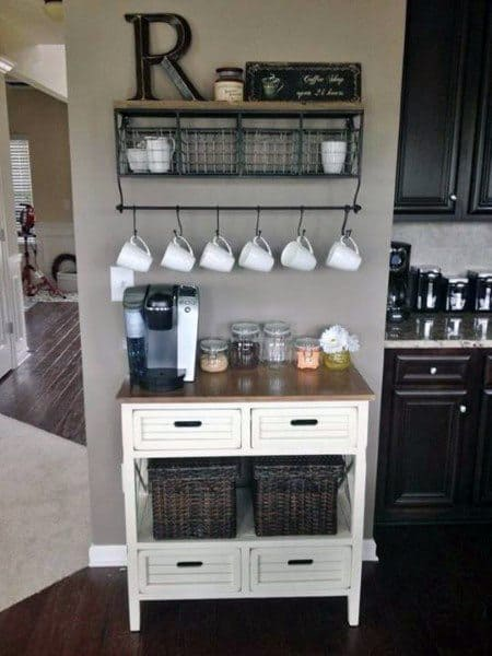 Simple Coffee Bar Ideas White Cart With Wood Countertop