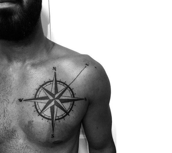 Simple Compass Mens Tattoos
