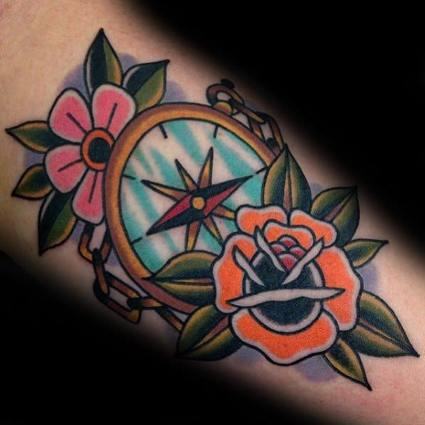 Simple Compass Themed Tattoo Ideas For Men