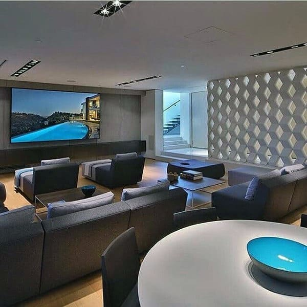 Simple Basement Home Theater Design Inspiration. Simple Contemporary Media  Room Inspiration