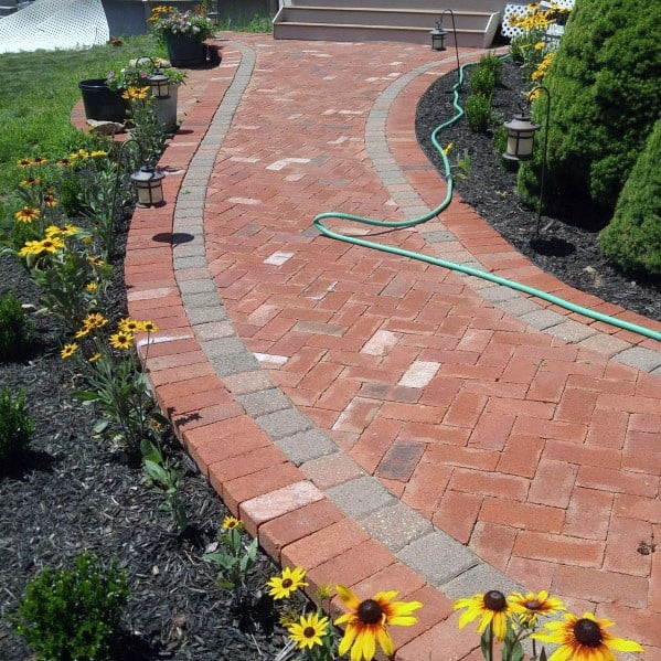 Simple Curved Red Brick And Grey Stone Ideas For Paver Walkway