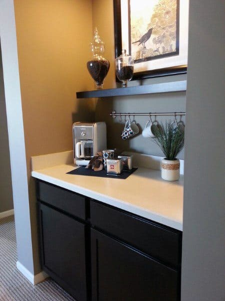 Simple Double Cabinets Coffee Bar With Quartz Countertop