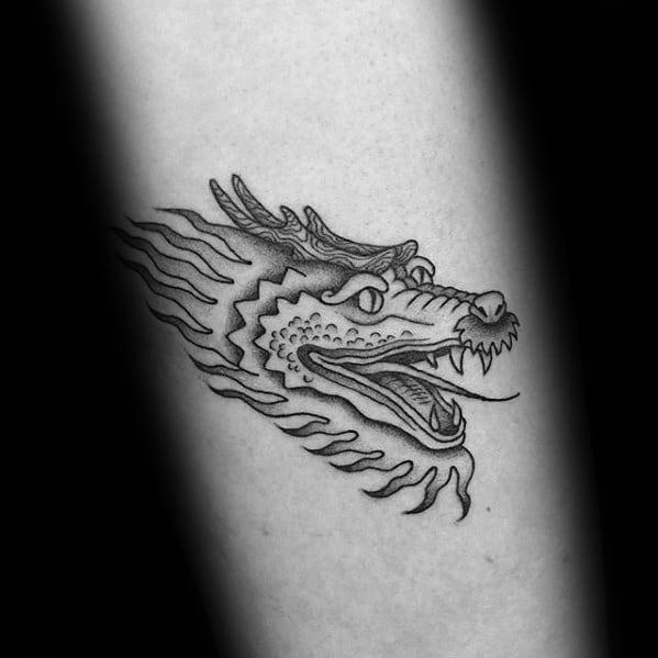 Simple Dragon Head Forearm Tattoos Male