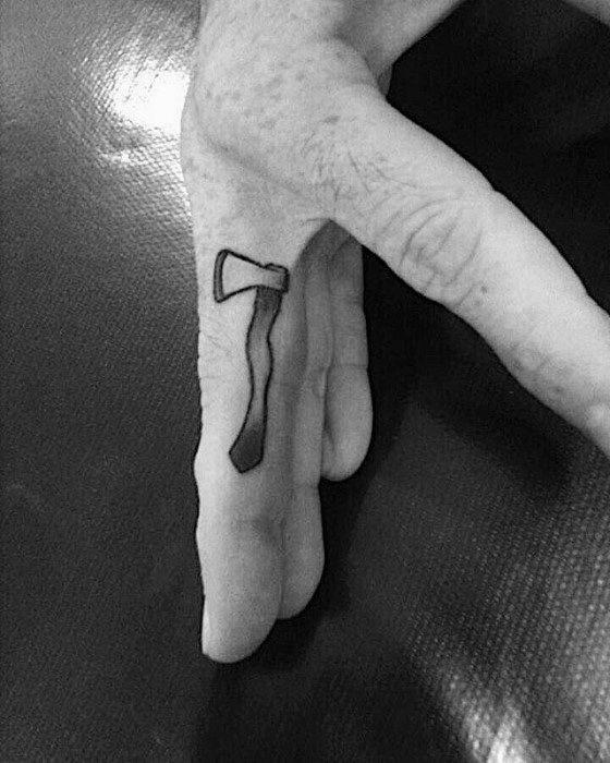 Simple Finger Axe Guys Tattoos