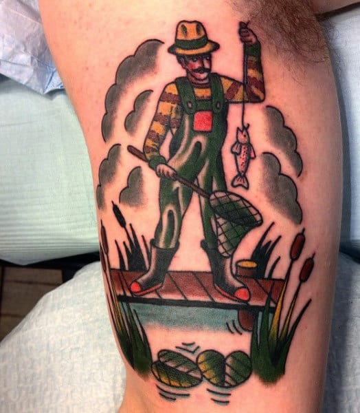 Simple Fisherman Tattoo On Men