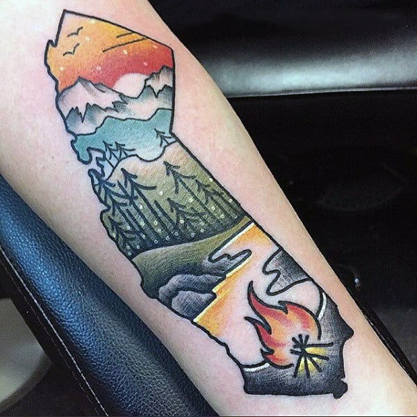 Simple Foesrt Scene With Fire And Lake Tattoo On Forearm On Male