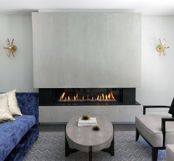 Simple Gas Concrete Fireplace Design In Living Room Of Home