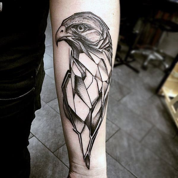 Simple Geometric Hawk Forearm Tattoo On Gentleman