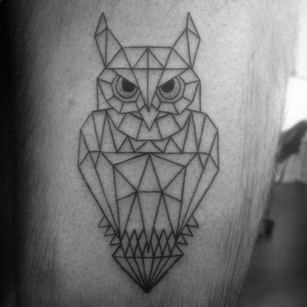 Simple Geometric Owl Black Ink Lines Guys Leg Tattoos