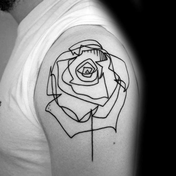 Simple Geometric Rose Guys Shoulder Cap Tattoo