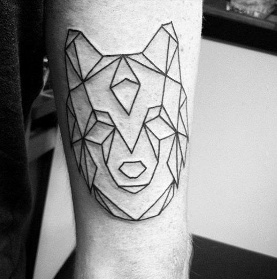 Simple Geometric Wolf Black Ink Outline Deisgn Male Tattoo Ideas