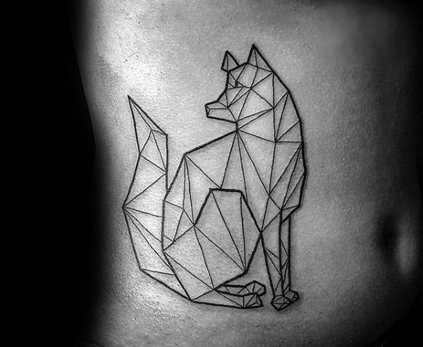 Simple Geometric Wolf With Black Ink Outline Design Tattoo On Mans Ribs
