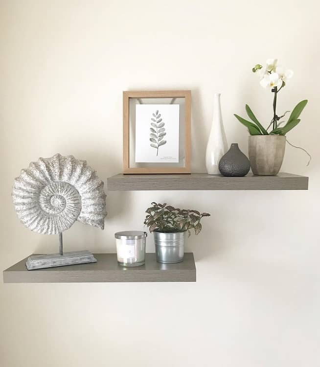 Simple Gray Bathroom Floating Shelf Homewithsimone