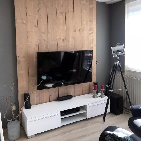 Simple Grey Painted And Wood Tv Wall Ideas
