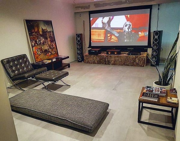 Simple Guys Basement Man Cave Design Ideas