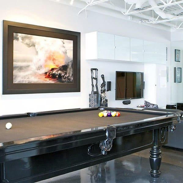 Simple Guys Ultimate Bachelor Pad With Pool Table In Living Room