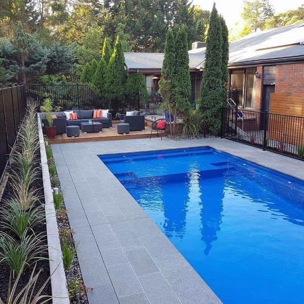 Simple Home Design Ideas Pool Landscaping With Wood Deck Patio