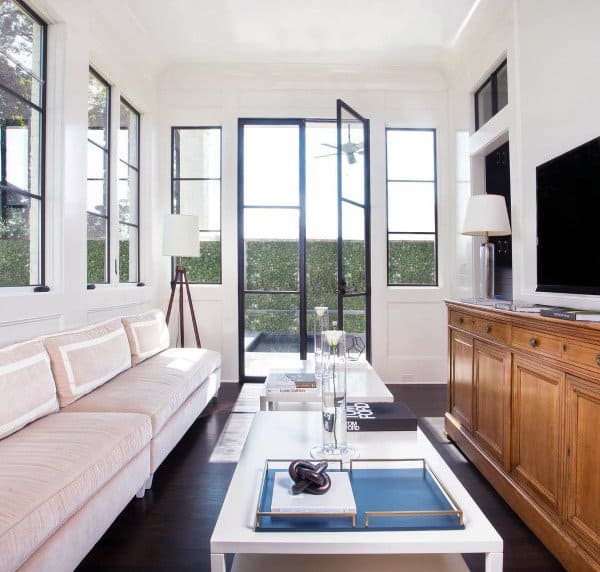 Simple Home Sunroom Ideas With Dark Hardwood Flooring