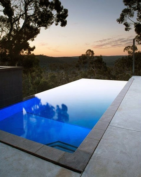 Simple Home Swimming Pool With Infity Edge View