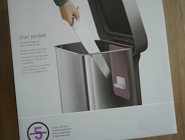 Simple Human 58 Liter Rectangular Trash Can Liner Pocket Details