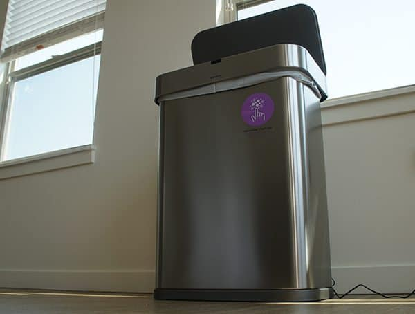 Simple Human 58 Liter Rectangular Trash Can Motion Voice Activated Lid