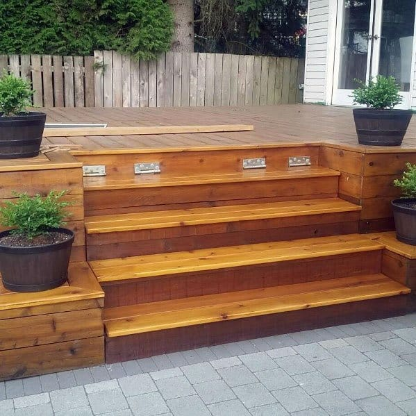 Simple Ideas For Deck Steps With Built In Planter Boxes
