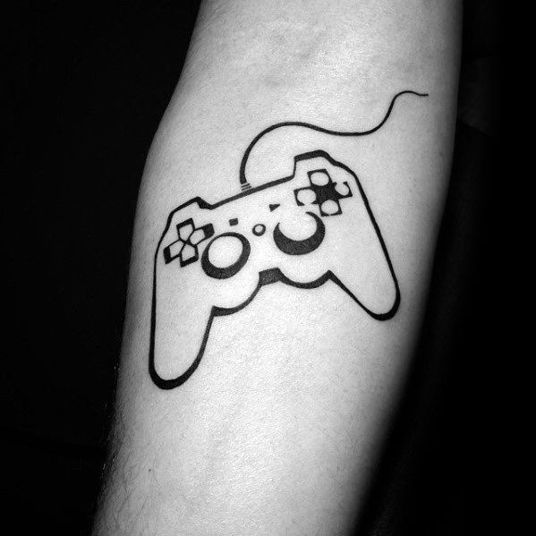 Simple Inner Foream Black Ink Outlinemanly Playstation Tattoo Design Ideas For Men