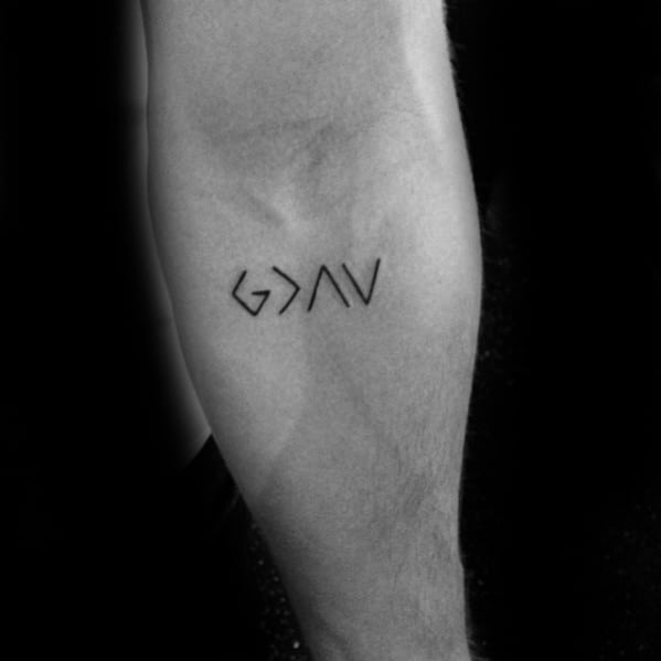 Simple Inner Forearm Awesome Ink God Is Greater Than The Highs And Lows Tattoos For Men