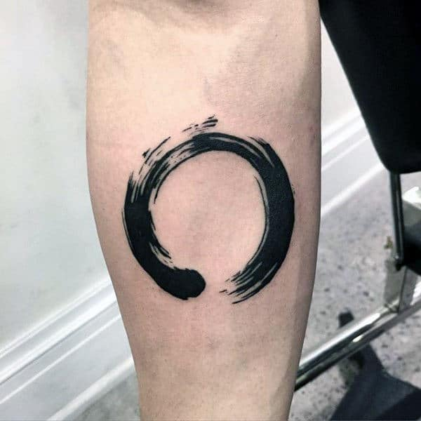 simple-inner-forearm-enso-black-ink-paint-brush-stroke-guys-tattoos