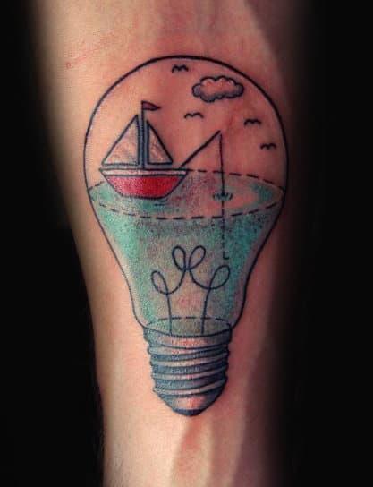 Simple Inner Forearm Light Bulb With Sailing Ship Fishing Mens Tattoo