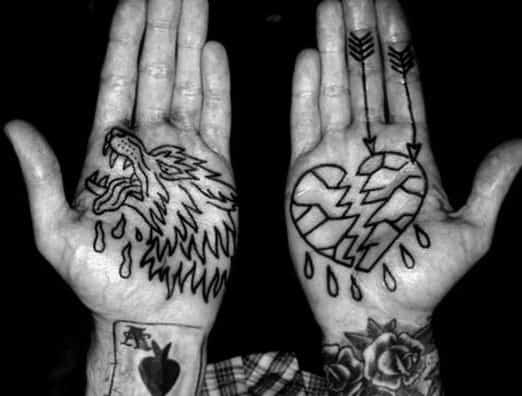 Simple Inner Hand Palm Black Ink Outline Broken Heart Tattoos For Males